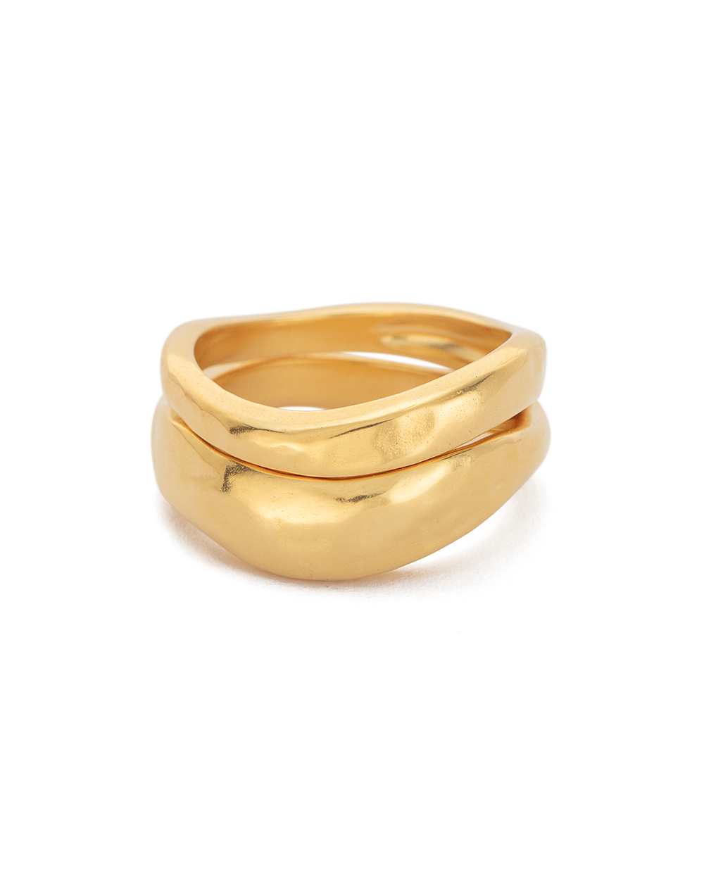ESSENCE STACKING RING SET (18K-GOLD-PLATED) - SIDE
