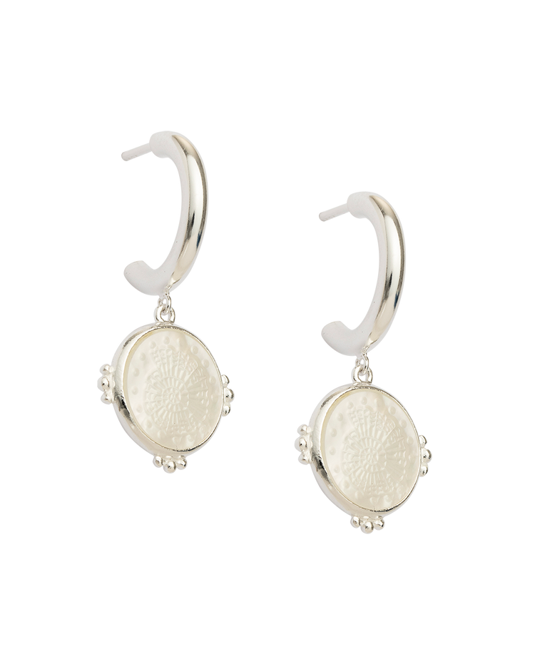 FOSSIL SHELL HOOPS (STERLING SILVER)