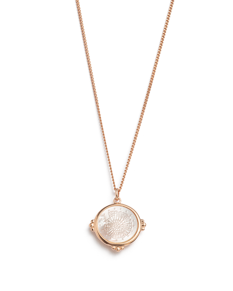 FOSSIL SHELL NECKLACE (18K-ROSE GOLD-VERMEIL)