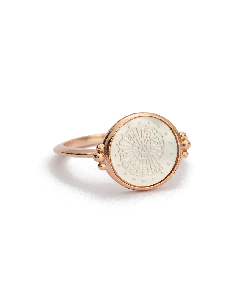 FOSSIL SHELL RING (18K-ROSE GOLD-VERMEIL) - 02