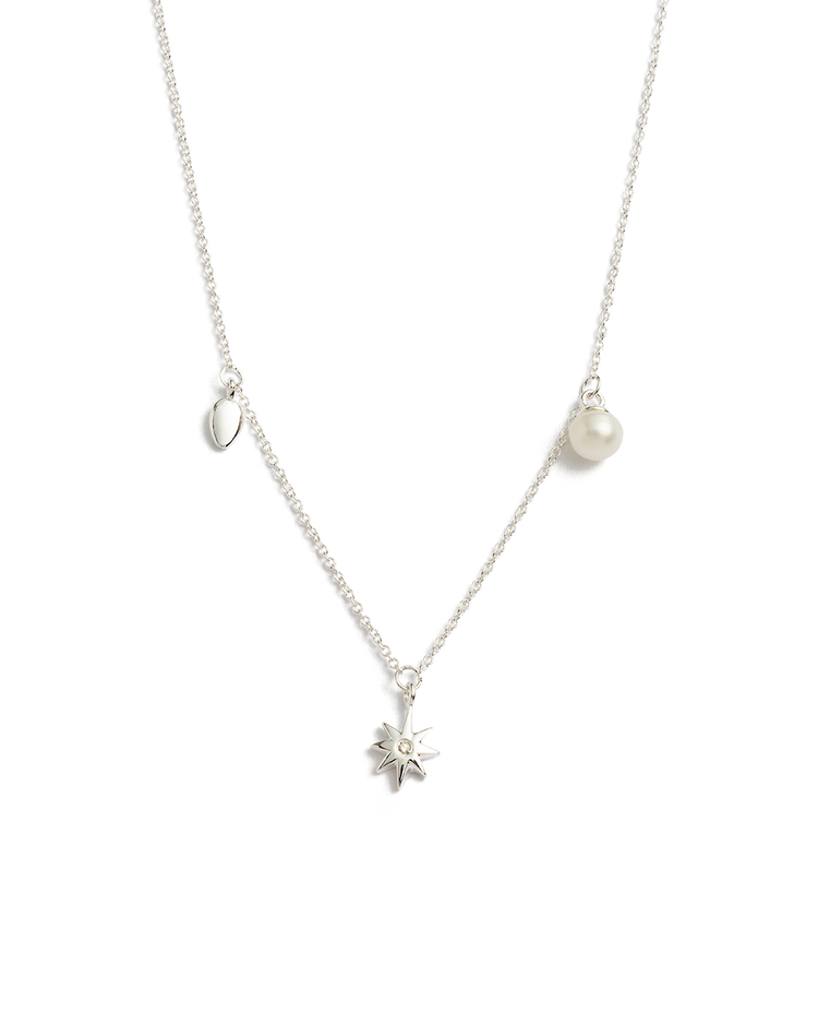 GUIDING STAR PEARL NECKLACE (STERLING SILVER)