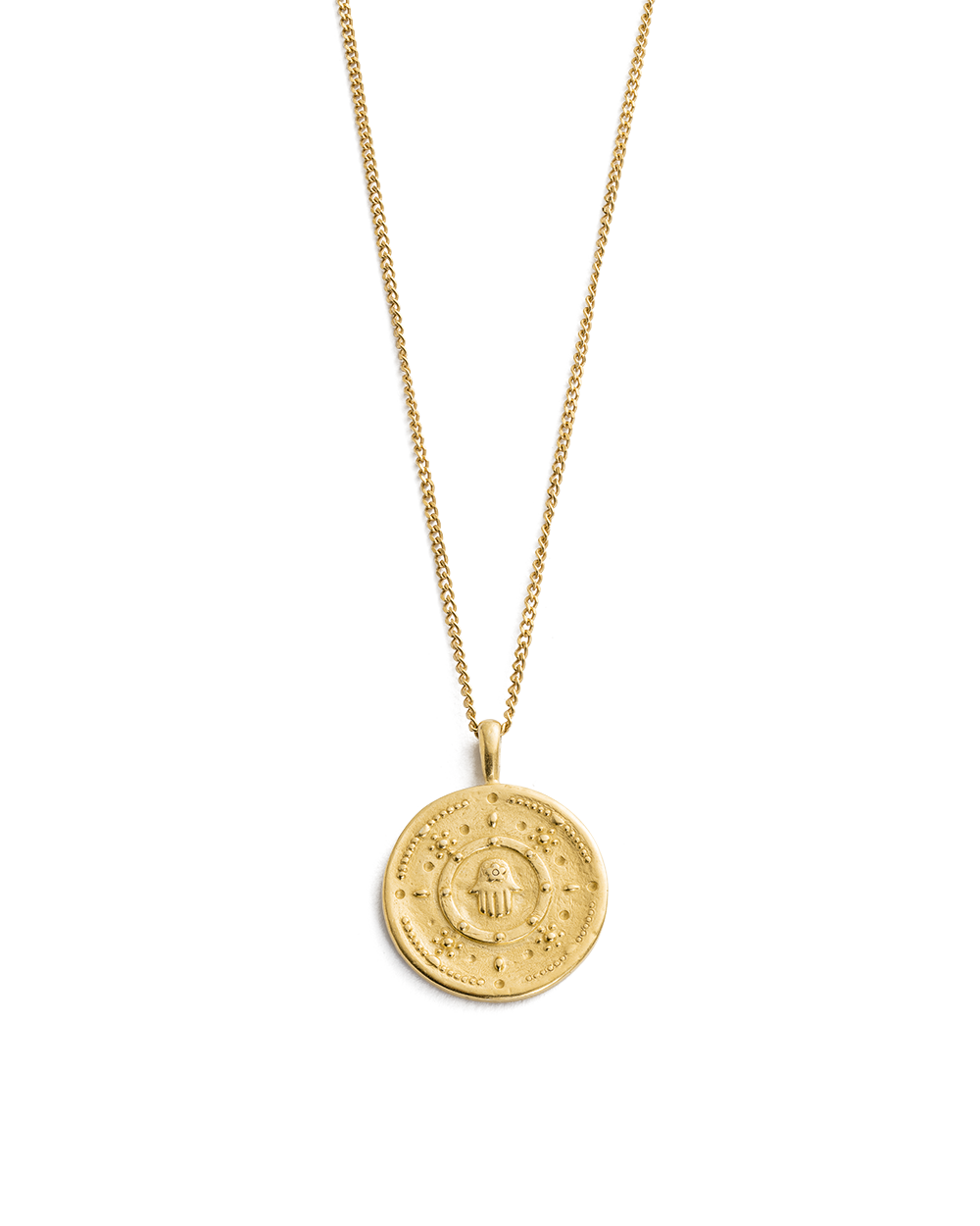 HAMSA PROTECTION COIN NECKLACE (18K-GOLD-VERMEIL)
