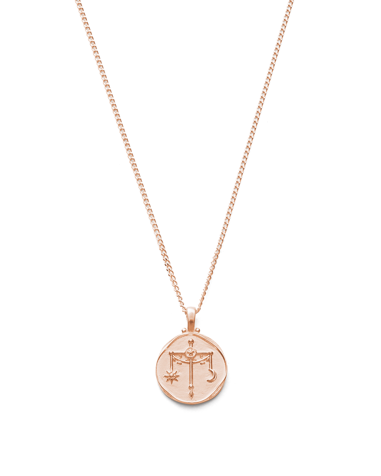 LIBRA ZODIAC NECKLACE (18K-ROSE GOLD-VERMEIL)