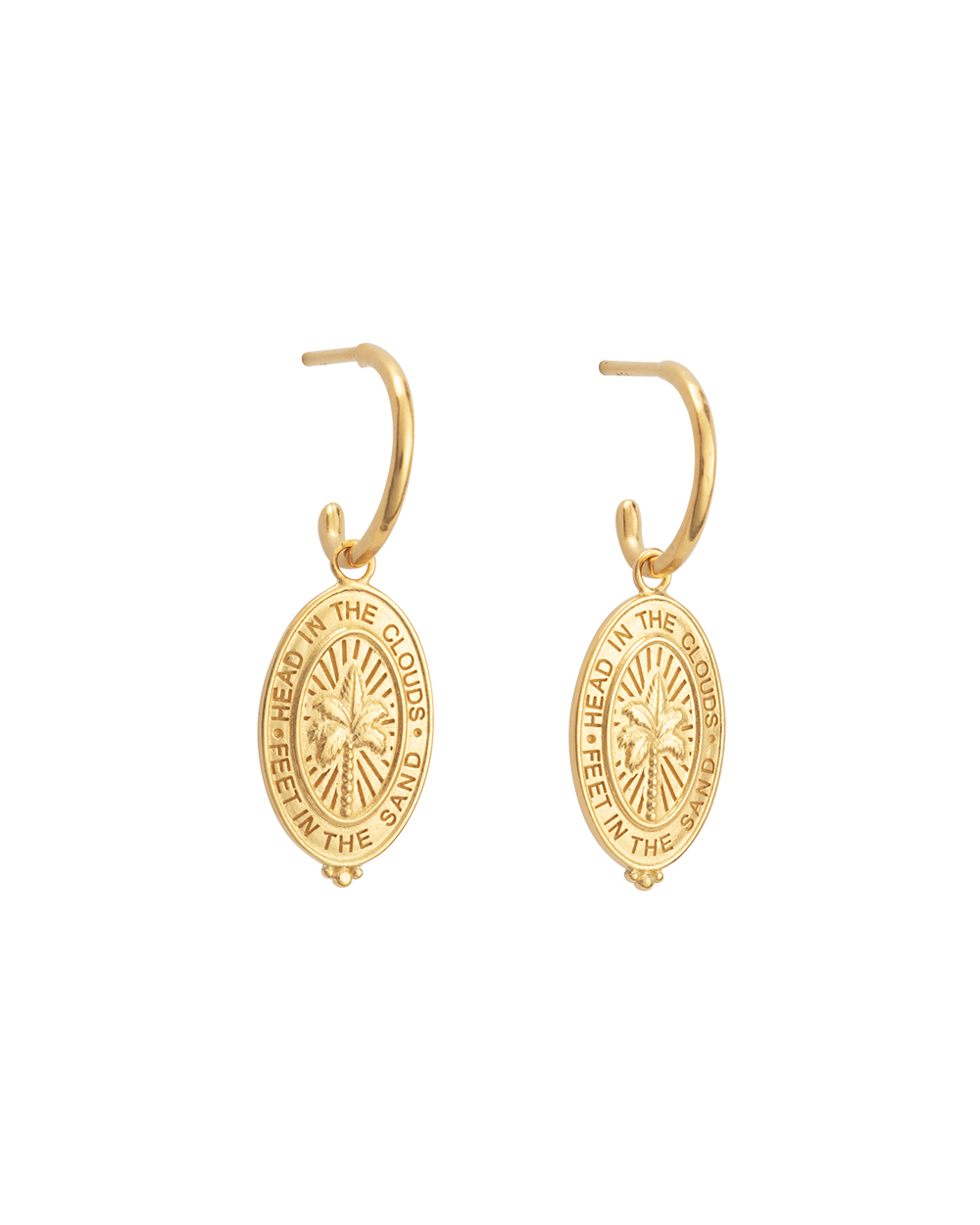PALM COIN HOOPS (18K-GOLD-PLATED)-FRONT