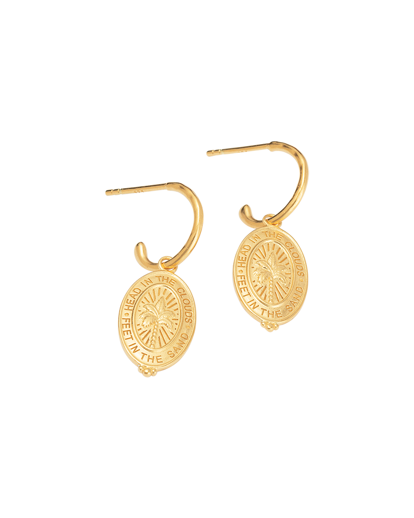 PALM COIN HOOPS (18K-GOLD-PLATED)-SIDE