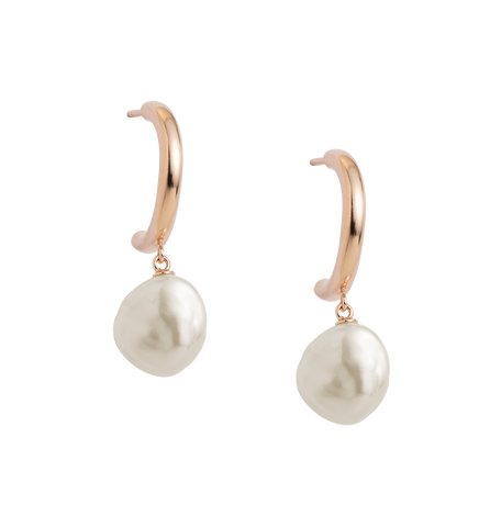 PEARL DROP HOOPS (18K-ROSE GOLD-PLATED)