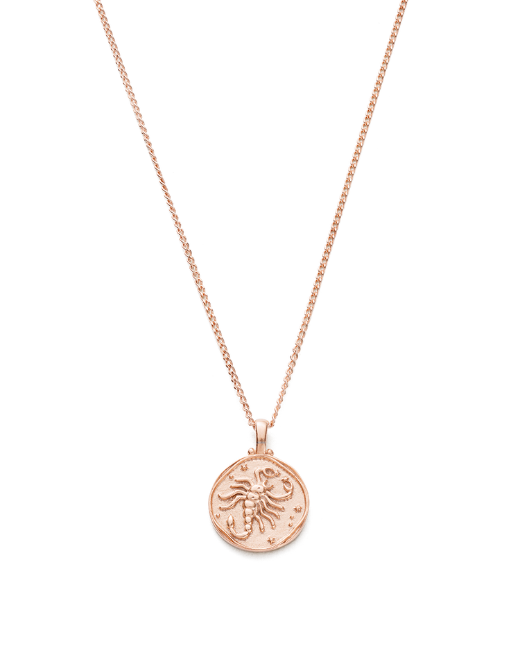 SCORPIO ZODIAC NECKLACE (18K-ROSE GOLD-VERMEIL)