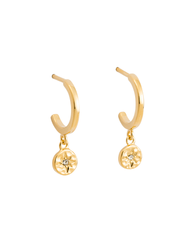 STAR COIN HOOPS (18K-GOLD-PLATED)