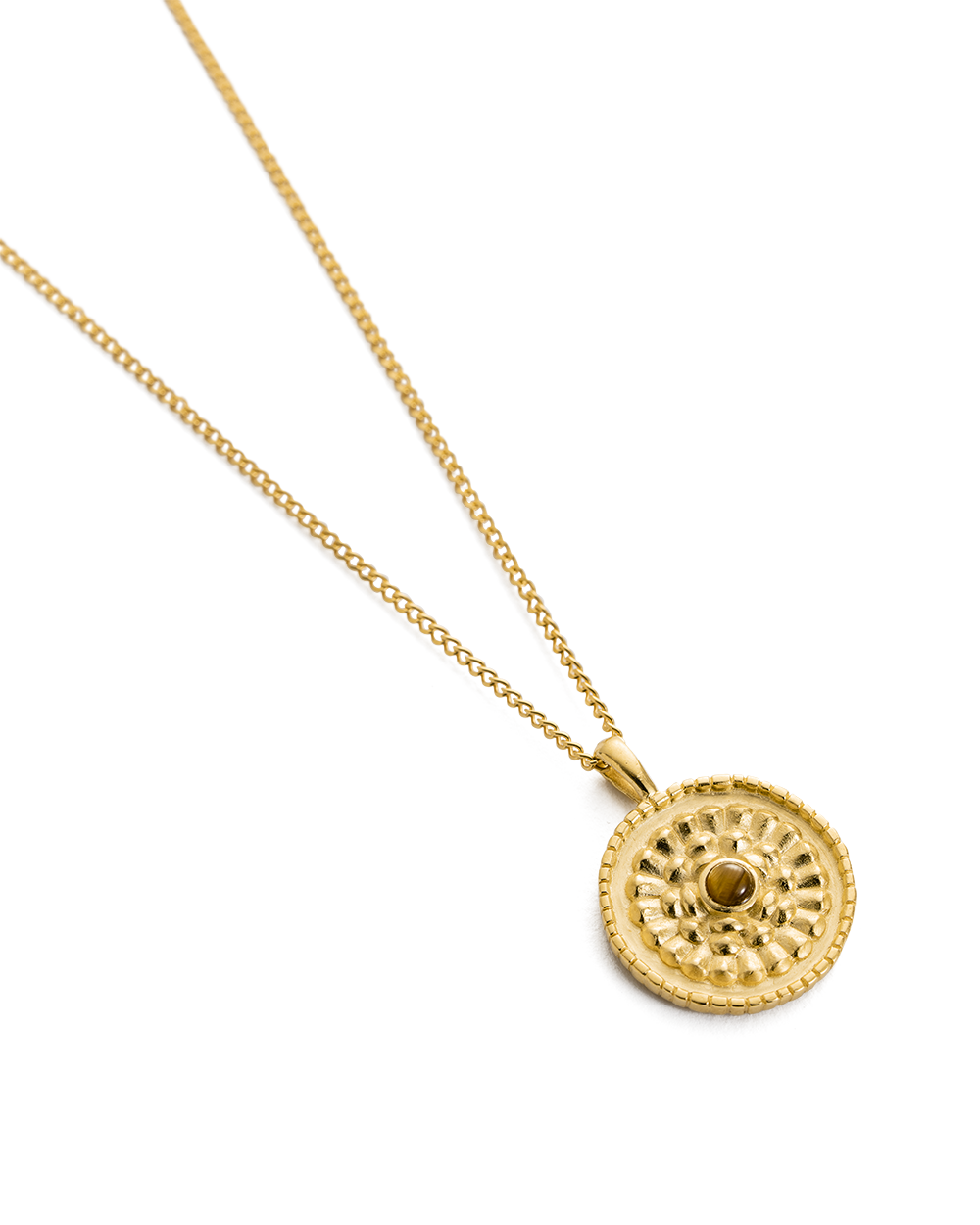 TIGERS EYE COIN NECKLACE (18K-GOLD-VERMEIL)