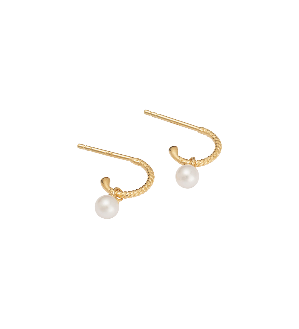 TINY PEARL HOOPS (18K-GOLD-PLATED)-SIDE