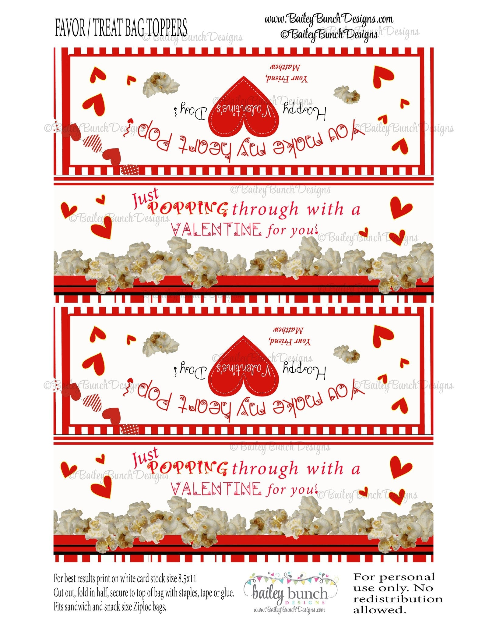 graphic relating to You Make My Heart Pop Valentine Printable referred to as Your self produce my centre Pop Bag Toppers, Valentines VDAYPOPCORN0520