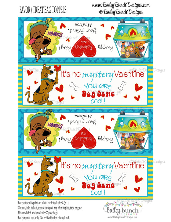 Scooby Doo Valentine Bag Toppers, Scooby-Doo Valentines VDAYSCOOBY0520