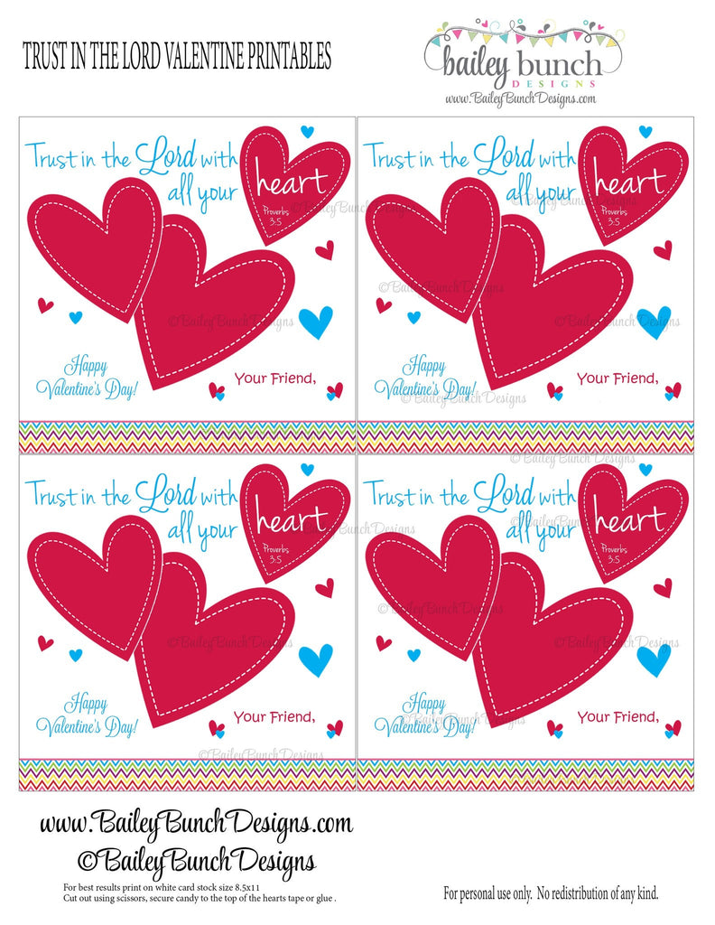 Trust in the Lord Bag Toppers, Valentines IDVDAYLORD0520