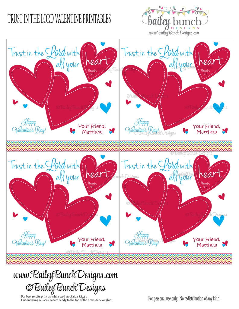 Trust in the Lord Bag Toppers, Valentines VDAYLORD0520