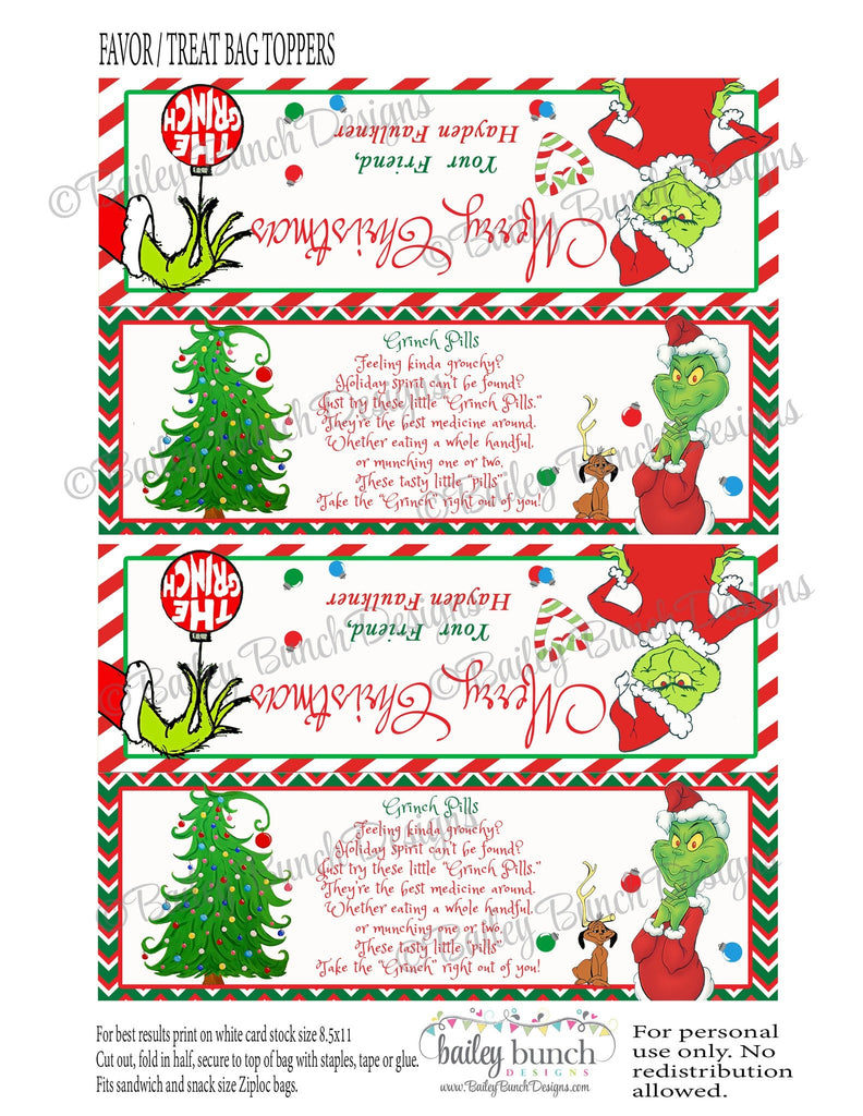 Grinch Pills Treat Bags, Christmas Toppers IDGRINCH0520