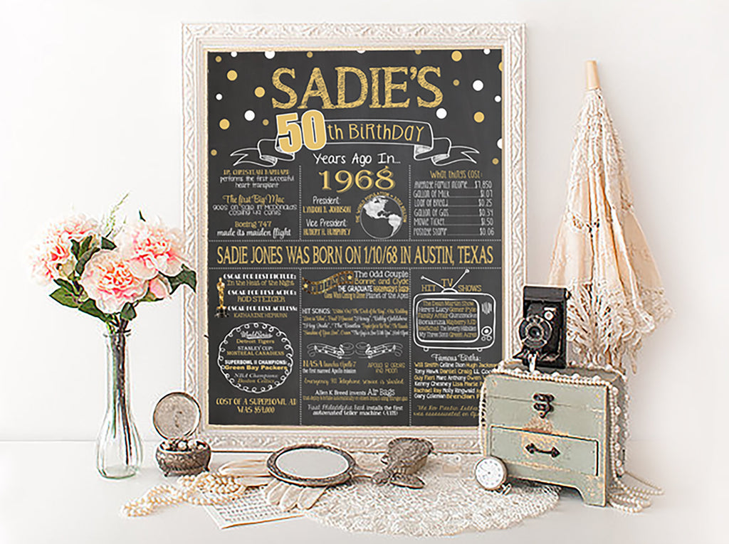 50th Birthday Chalkboard, Back in 1968 Board 50YR0520