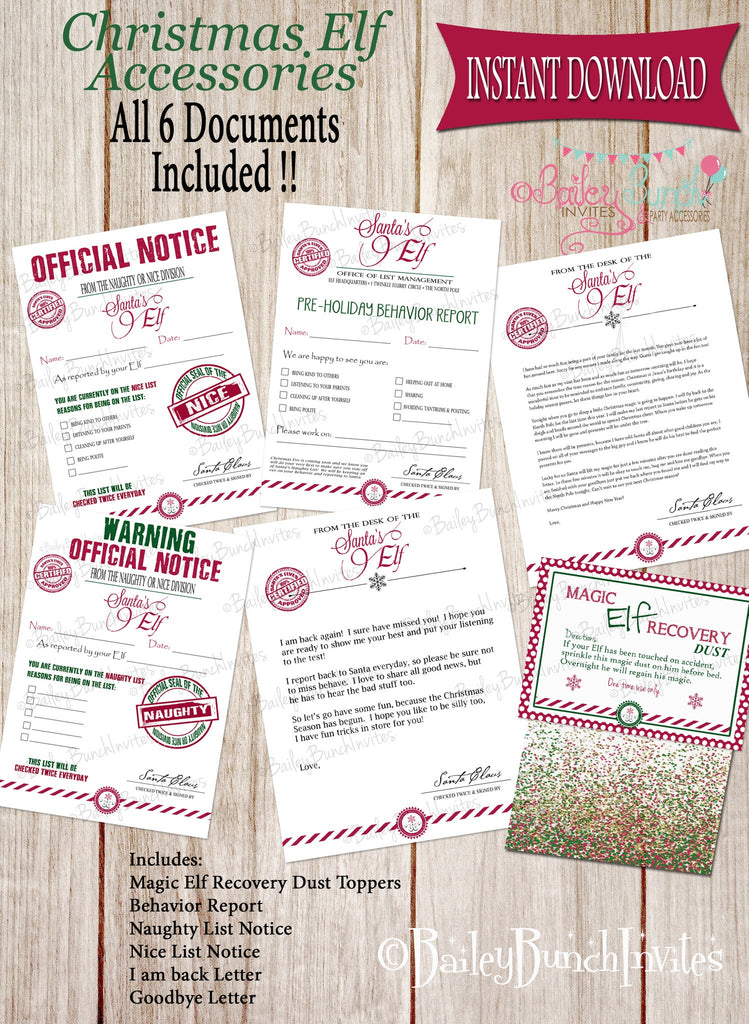 Elf Printables, Christmas Elf, nice list, naughty list, behavior report, Santa IDELF0520