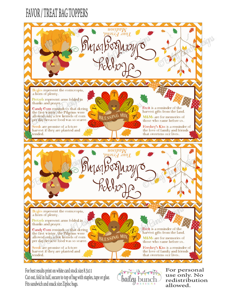 Thanksgiving Blessing Mix Treat Bags, Thanksgiving Toppers, Happy Thanksgiving THANKSBLESSFVR0520