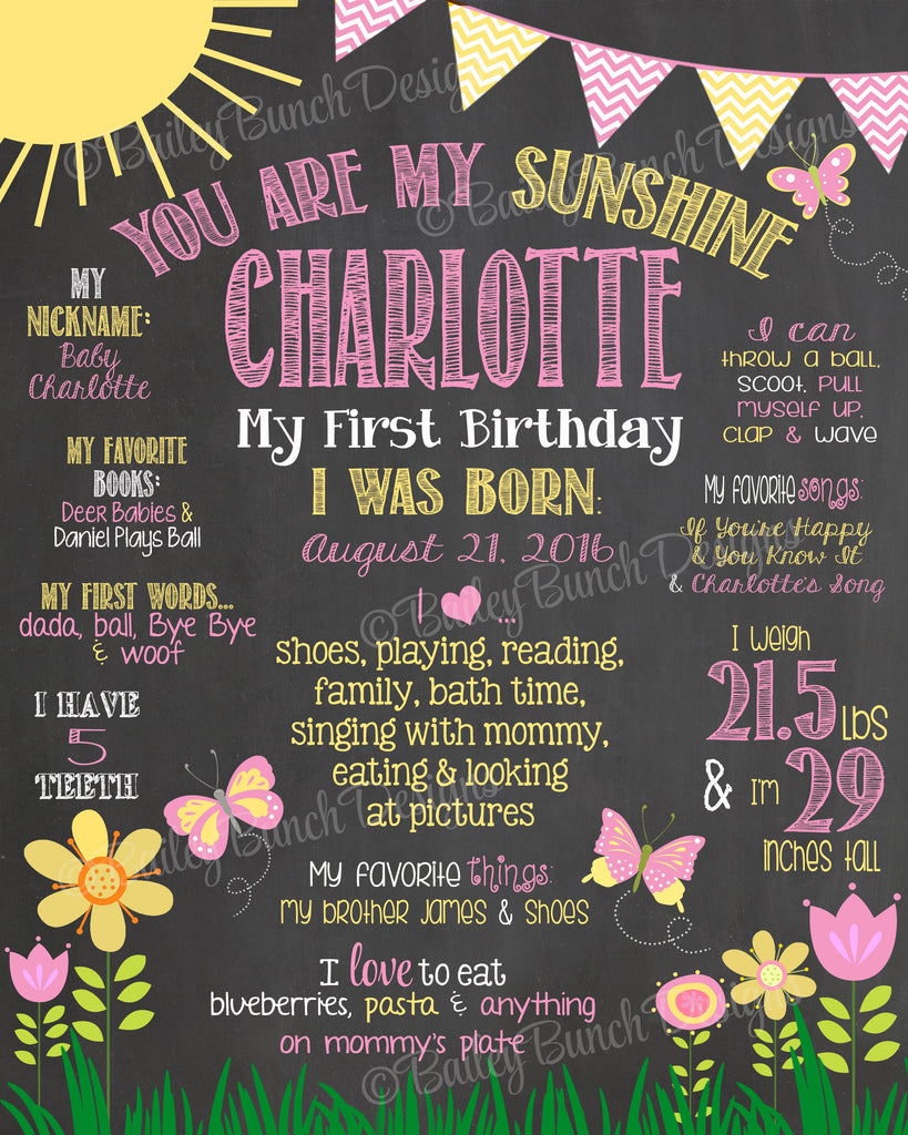 You are my Sunshine Birthday Chalkboard, SUNCHALK0520