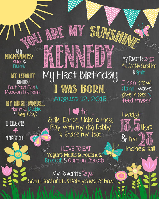 You Are My Sunshine Birthday Chalkboard SUNCHALK0520