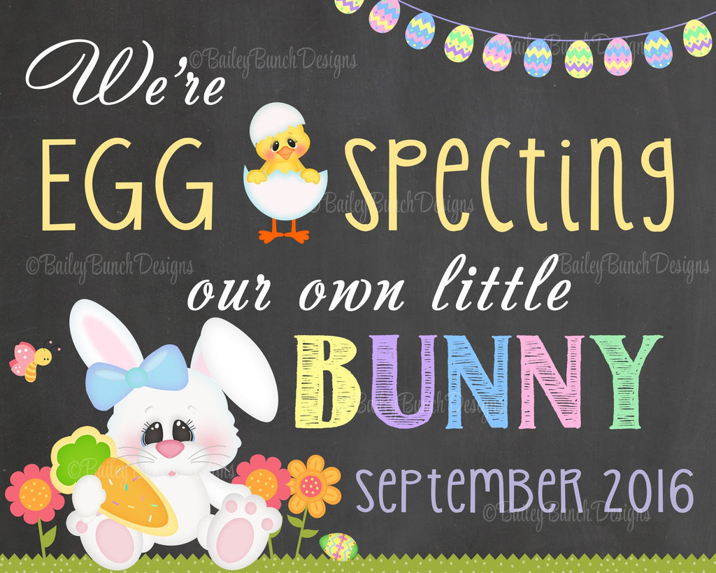 Easter Pregnancy Reveal Announcement Chalkboard Sign, EGG SPECTING Pregnancy EGGCHALK0520
