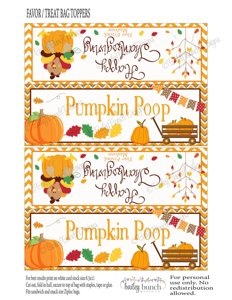 Thanksgiving Pumpkin Poop Treat Bags, Thanksgiving Toppers, Happy Thanksgiving Topper PUMPPOOFVR0520