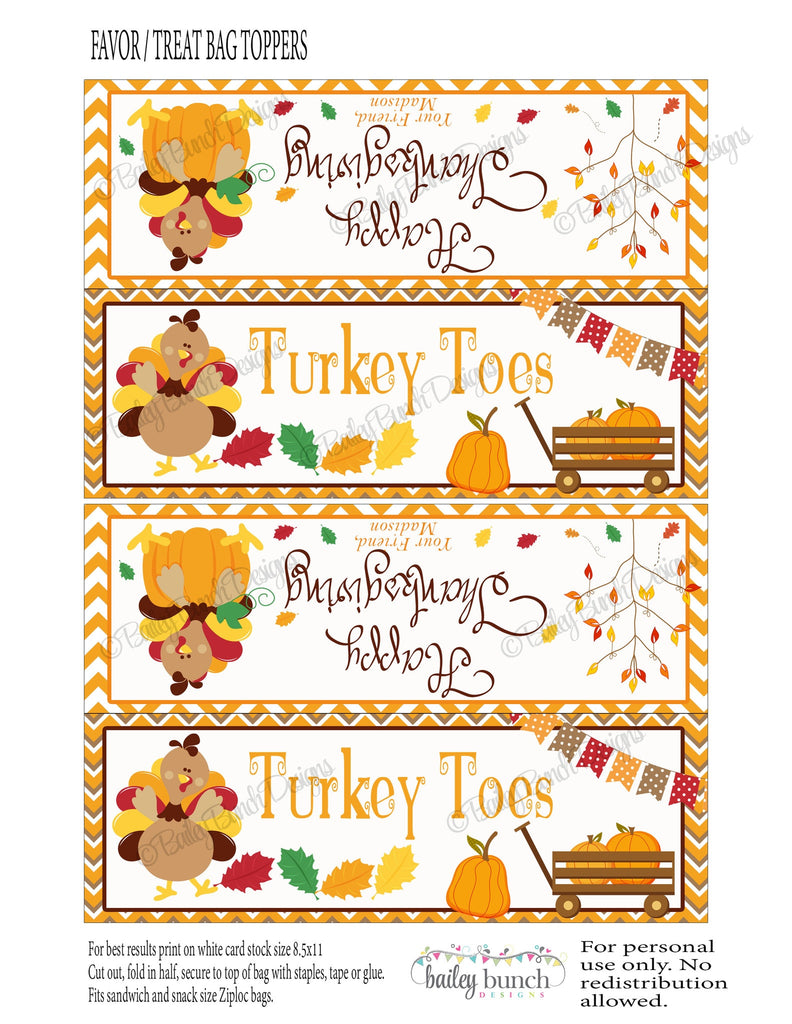 Thanksgiving Turkey Toes Treat Bags, Toppers, Happy Thanksgiving TURKEYTOEVR0520