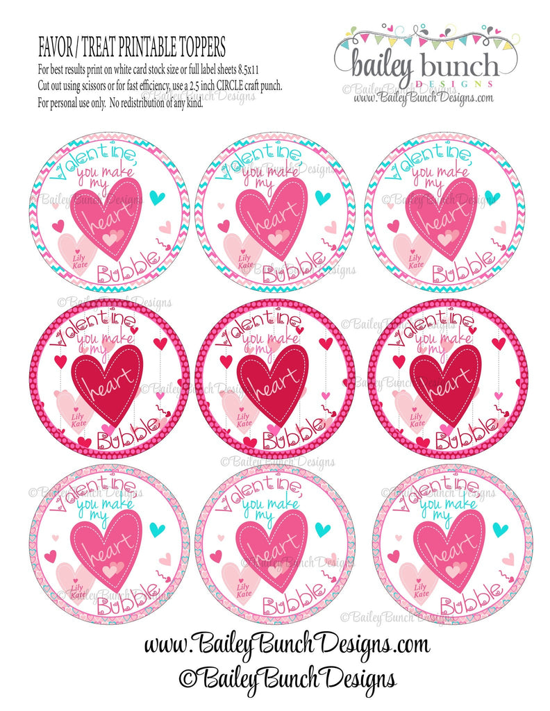 You make my heart bubble Valentine Treat Tags, Valentines VDAYBUBBLE0520