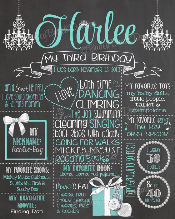 Chic Birthday Chalkboard, Diamond, Pearls, Tiffanys TIFFCHALK0520
