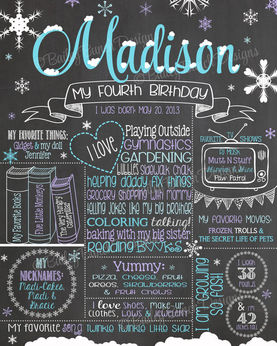 Frozen Winter Snowflake Birthday Chalkboard, FROZENCHALK0520