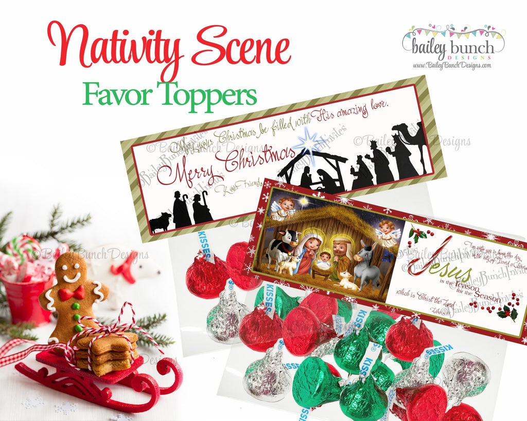 Nativity Treat Bags, Christian Christmas Toppers IDNATIVITY0520