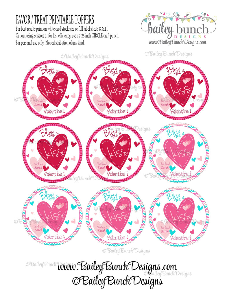 Blow Me A Kiss Valentine Treat Tags, Valentines VDAYKISS0520
