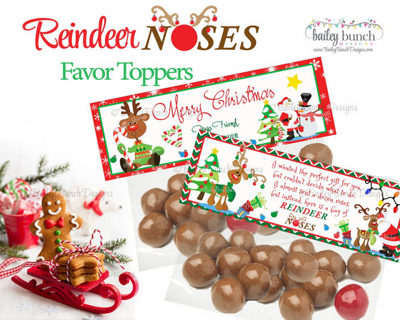 Reindeer Noses Treat Bags, Christmas Toppers NOSE0520