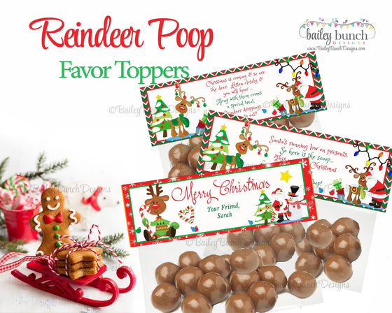 Reindeer Poop Treat Bags, Christmas Toppers POOP0520