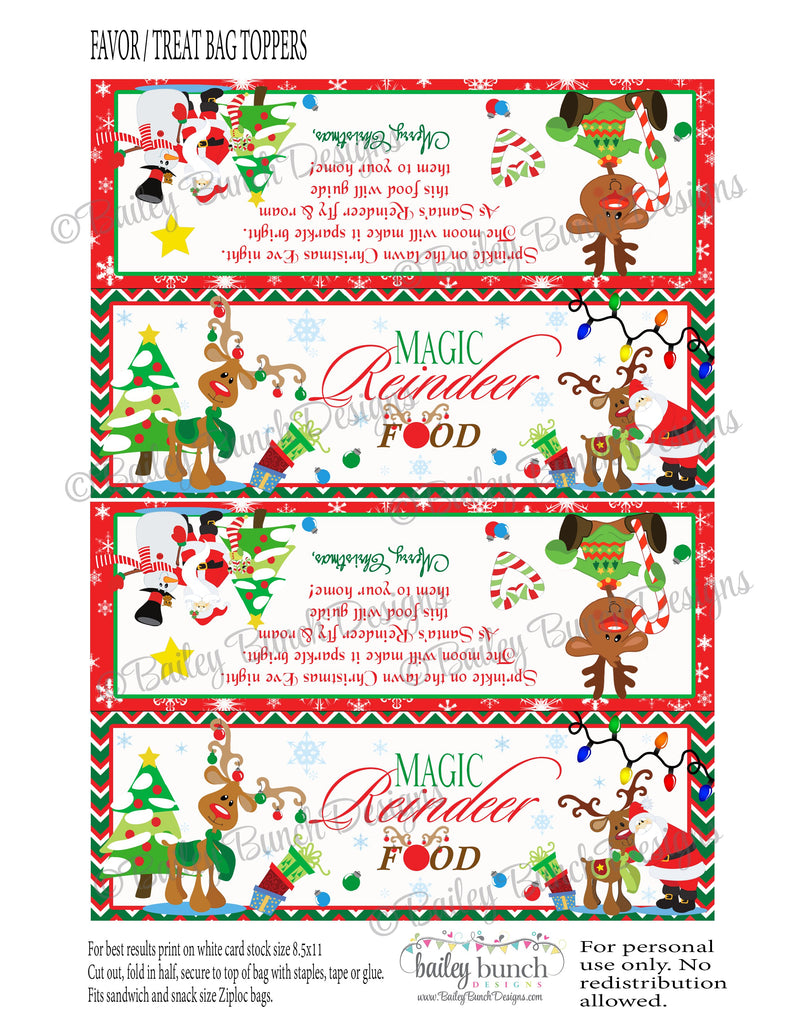 Reindeer Food Treat Bags, Christmas Toppers IDREINDEER0520