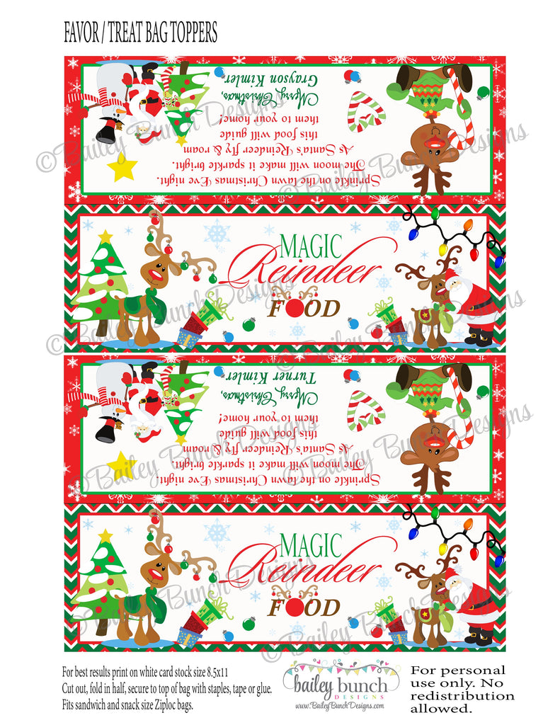 Reindeer Food Treat Bags, Christmas Toppers REINDEER0520