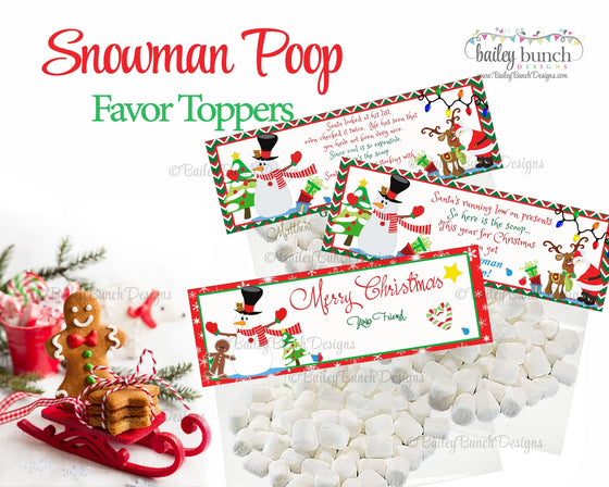 Snowman Poop Treat Bags, Christmas Toppers IDSNOWMAN0520