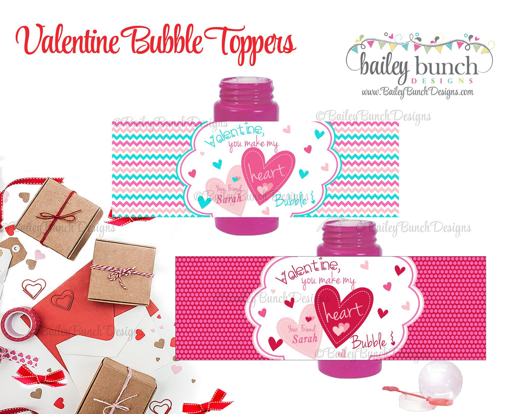 You make my heart bubble Valentine Treat Tags, Bubble Valentines VDAYBUBBLES0520