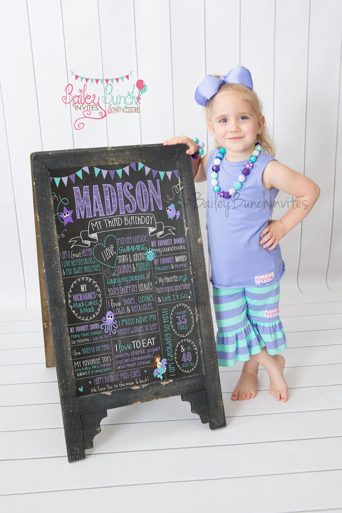 Mermaid, Under the Sea Birthday Chalkboard, Layout 1002 - PURPLE, AQUA MERMAID2CHALK0520