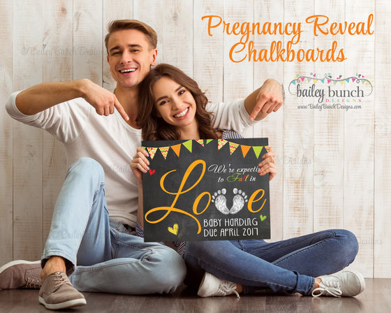 Fall in Love Pregnancy Reveal Chalkboard, Announcement, Autumn - FALLPREG0520