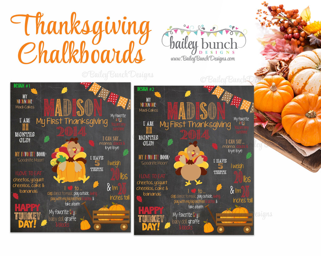 Baby's Thanksgiving Chalkboard Poster, First Thanksgiving, Chalkboard Sign 1STTHANKCHALK0520