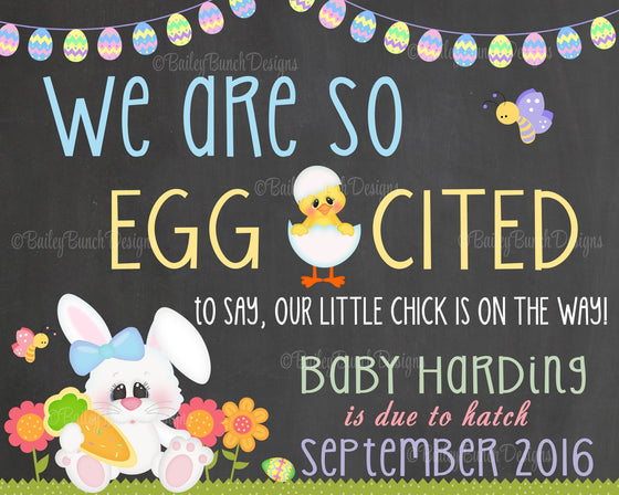 Easter Pregnancy Reveal Announcement Chalkboard Sign, EGG CITED Pregnancy EGGCITEDCHALK0520