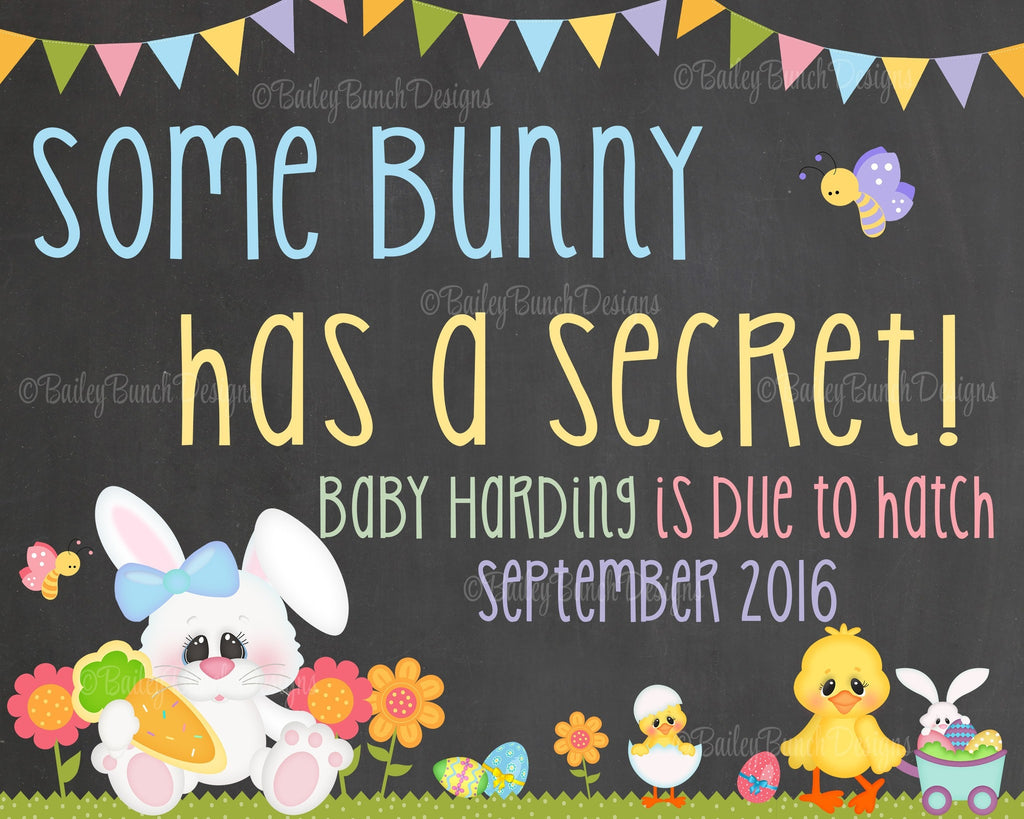Easter Pregnancy Reveal Announcement Chalkboard Sign, SOME BUNNY Pregnancy BUNNYCHALK0520
