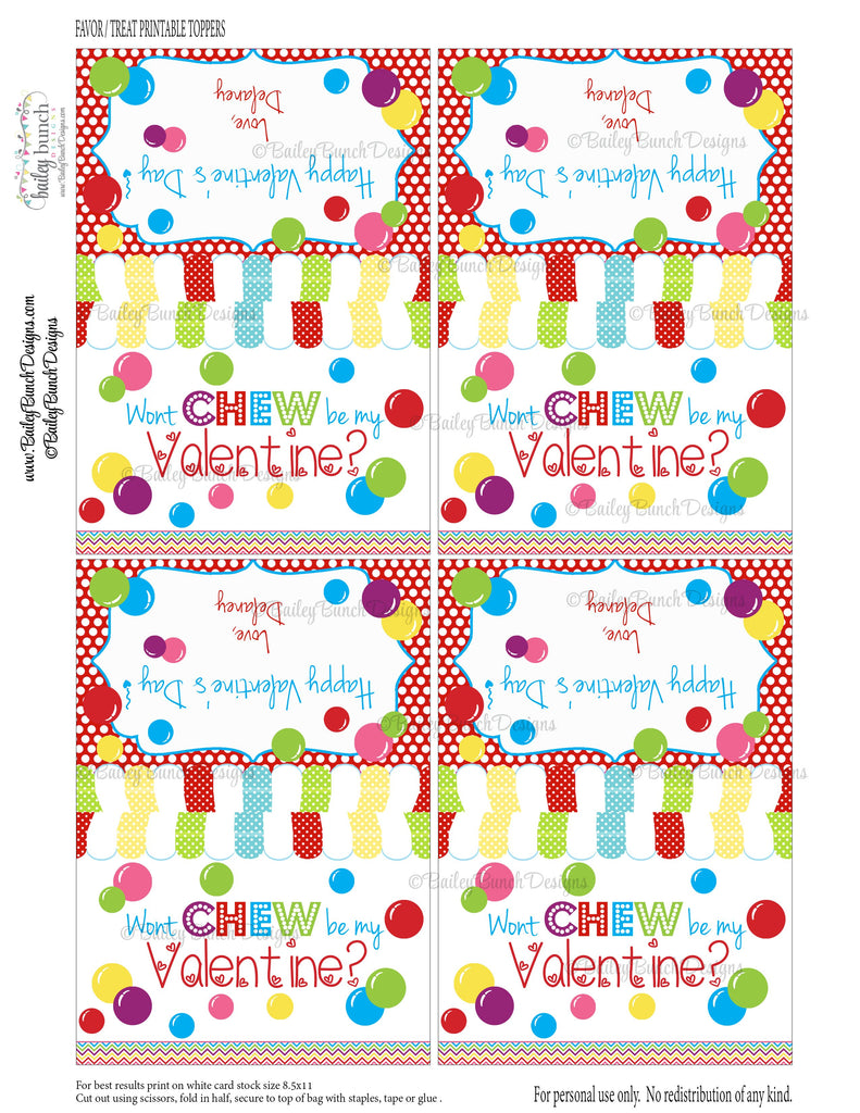 Wont CHEW be my Valentine Treat Tags, RED Valentines VDAYREDCHEWS0520