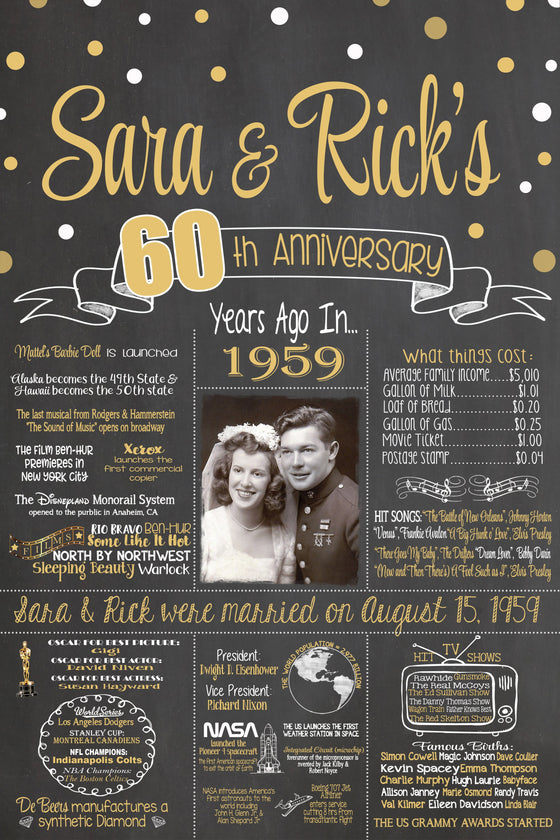 2019 New Design - Anniversary Sign, 60th Wedding Anniversary PHOTO Chalkboard, Back in 1959 Board ANN601959YR0520