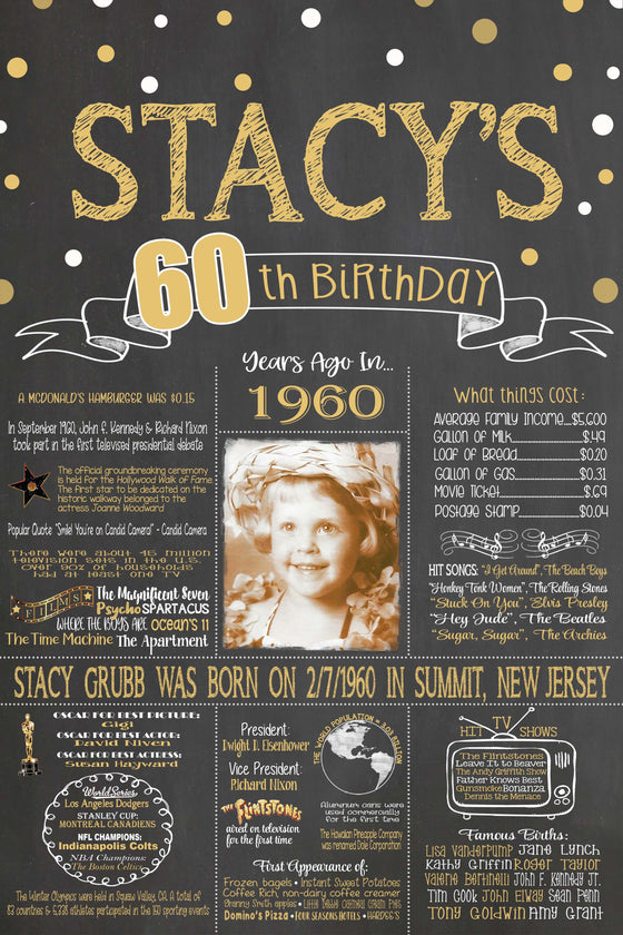 2020 New Design - Birthday Sign, 60th Birthday Photo Chalkboard, Back in 1960 Board 60PIC19600520