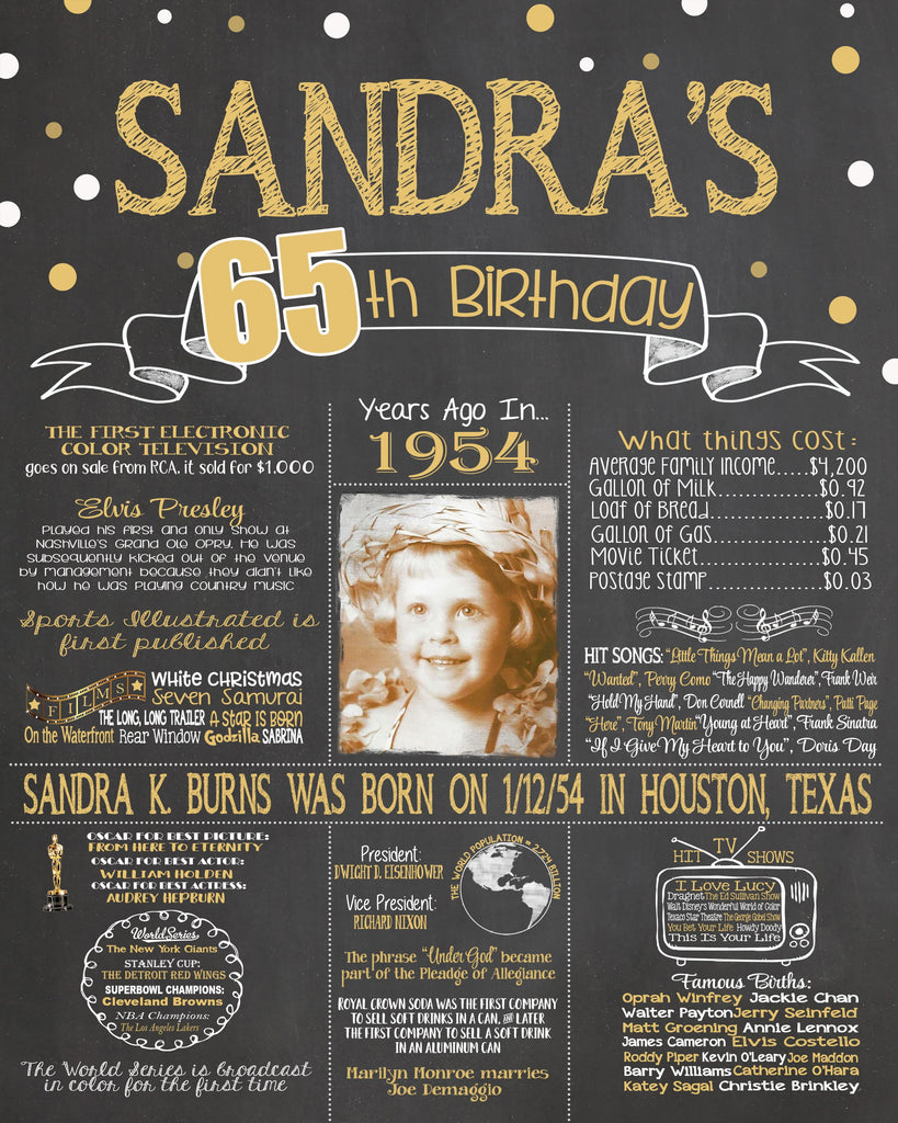 New Design - Birthday Sign, 65th Birthday Photo Chalkboard, Back in 1954 Board 65PIC19540520