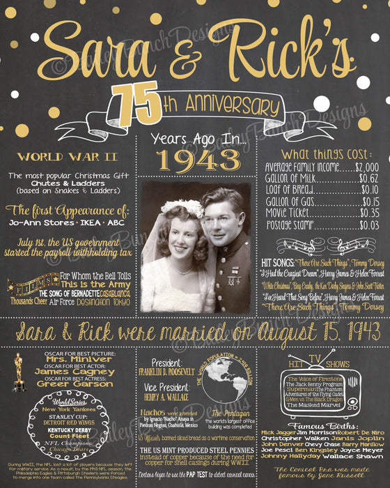 2019 New Design - 75th WEDDING ANNIVERSARY Photo Chalkboard, Back in 1943 Board ANNIV70CHALK0520