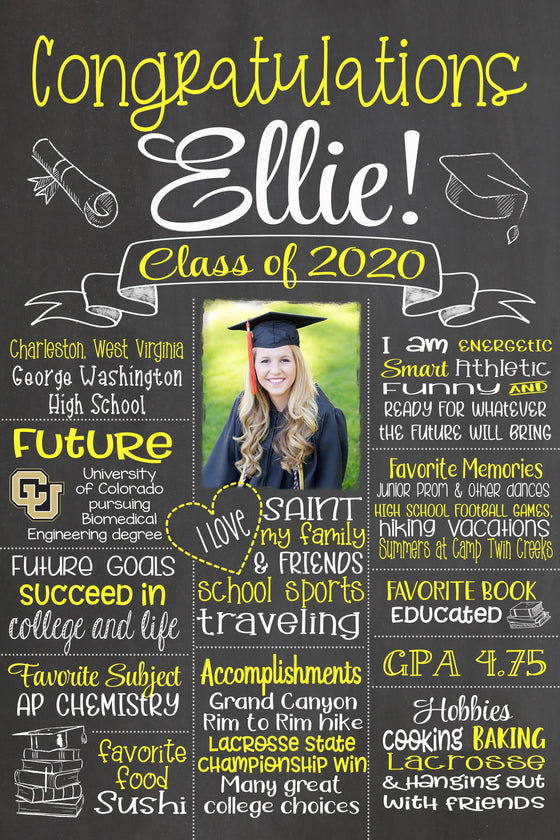2020 New Design - Congratulations Graduation Sign, Grad PHOTO Chalkboard, Class of 2020 Board GRAD0520