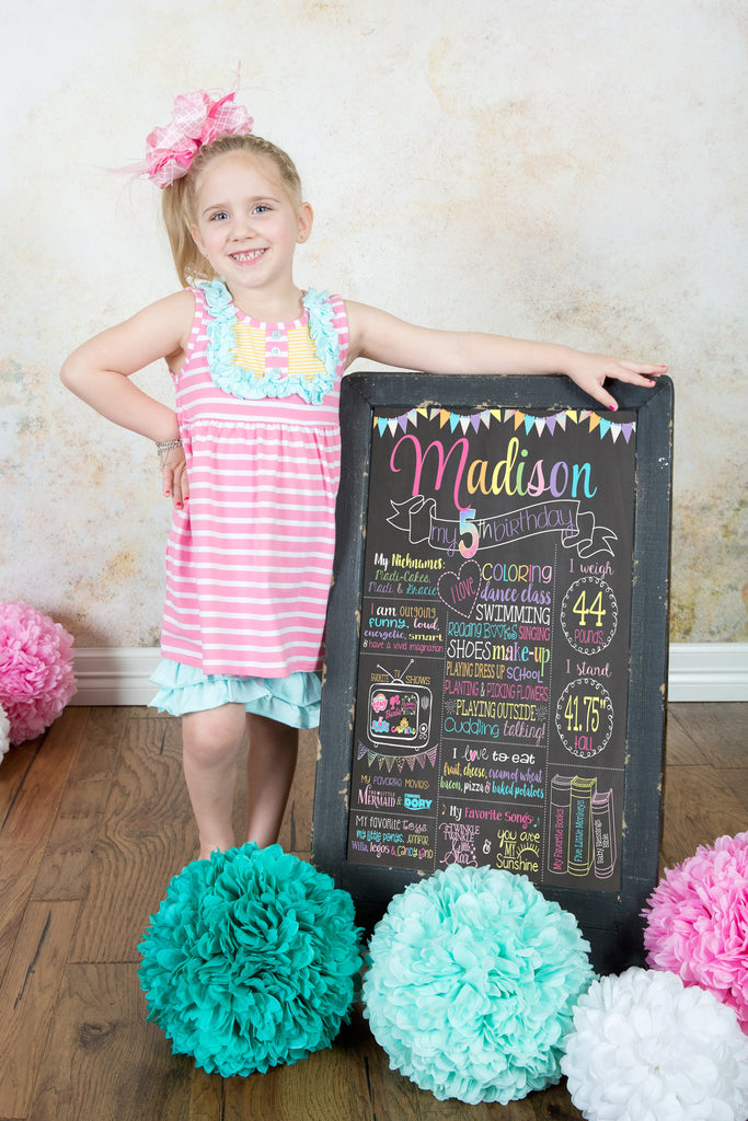 Rainbow Glitter Milestone Birthday Chalkboard, Pastel Colors, First Birthday Board, RAINBOWCHALK0520